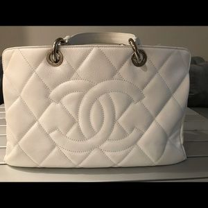 Chanel Timeless White Leather Tote